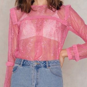 For Love and Lemons pink lace blouse